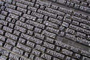 活版印刷やフォント活字イメージ